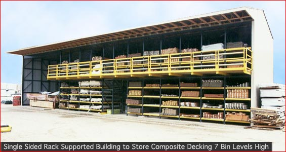 Single Sided Rack Supported Building to Store Composite Decking Seven Bin Levels High