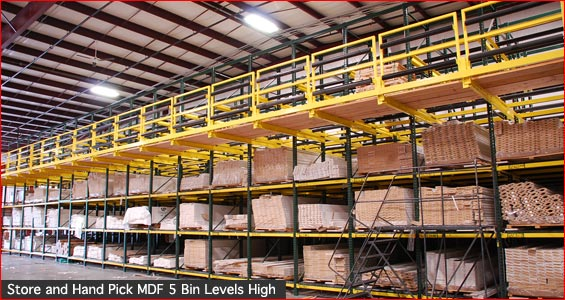 Store and pick mdf five bin levels high
